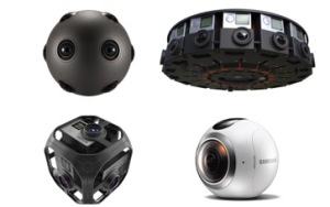 Fig. 2: Four different 360° cameras: On the top left you see the Ozo from Nokia and the GoPro Odyssey – both for professionals. Below the cheaper GoPro Omni and the Samsung Gear 360.