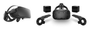 Fig. 3: Two VR headsets: The Oculus Rift and the HTC Vive.